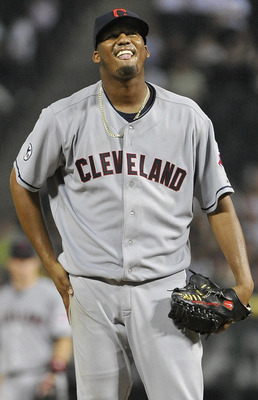 CHICAGO, IL - AUGUST 17:  Starting pitcher Fausto Carmona #55 of the Cleveland Indians stands on the mound during the ninth inning against the Chicago White Sox at U.S. Cellular Field on August 17, 2011 in Chicago, Illinois. The Indians defeated the White
