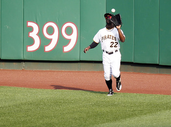PITTSBURGH, PA - SEPTEMBER 01:  Andrew McCutchen #22 of the Pittsburgh Pirates catches a fly ball against the Los Angeles Dodgers during the game on September 1, 2011 at PNC Park in Pittsburgh, Pennsylvania.  (Photo by Justin K. Aller/Getty Images)