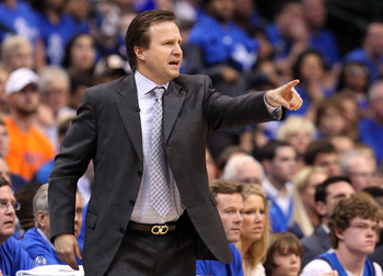 DALLAS, TX - MAY 25:  Head coach Scott Brooks of the Oklahoma City Thunder points while taking on the Dallas Mavericks in the first half in Game Five of the Western Conference Finals during the 2011 NBA Playoffs at American Airlines Center on May 25, 2011