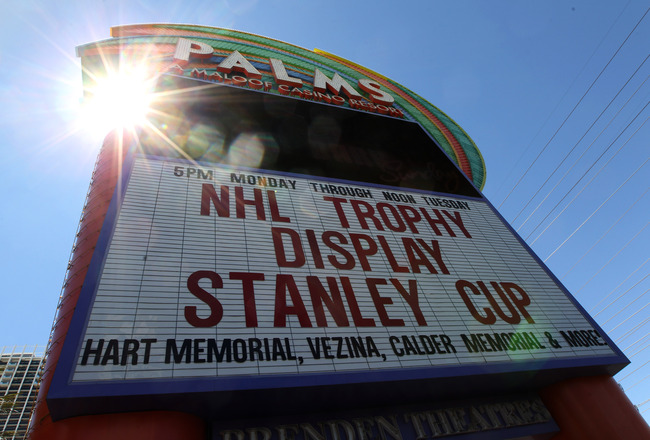 LAS VEGAS, NV - JUNE 21:  The marquee at the Palms Casino Resort displays the arrival of the Stanley Cup along with other NHL awards on June 21, 2011 in Las Vegas, Nevada.  (Photo by Bruce Bennett/Getty Images)