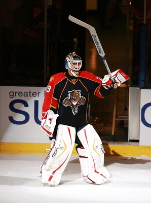 SUNRISE, FL - OCTOBER 11:  Goaltender Tomas Vokoun #29 of the Florida Panthers celebrates after being named player of the game after shutting out the New Jersey Devils at Bank Atlantic Center on October 11, 2007 in Sunrise, Florida. The Panthers defeated