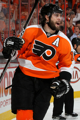 PHILADELPHIA - MAY 18:  Simon Gagne #12 of the Philadelphia Flyers celebrates after scoring a goal in the second period against the Montreal Canadiens in Game 2 of the Eastern Conference Finals during the 2010 NHL Stanley Cup Playoffs at Wachovia Center o