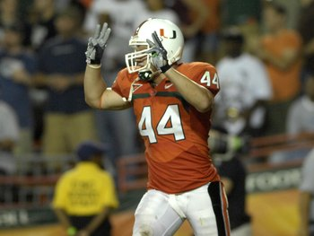 MIAMI, FL - SEPTEMBER 20: Linebacker Colin McCarthy #44 of the University of Miami  Hurricanes celebrates a defensive play against the Texas A&amp;M Aggies at the Orange Bowl on September 20, 2007 in Miami, Florida.  Miami won 31-17.  (Photo by Al Messerschmi