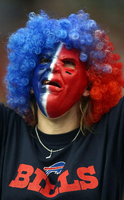 GLENDALE, AZ - OCTOBER 5: A buffalo Bills fan cheers during the Buffalo Bills v Arizona Cardinals NFL Game on October 5, 2008 at Stadium in Glendale, Arizona.