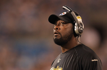 CHARLOTTE, NC - SEPTEMBER 01:  Head coach Mike Tomlin during their preseason game against the Carolina Panthers at Bank of America Stadium on September 1, 2011 in Charlotte, North Carolina.  (Photo by Streeter Lecka/Getty Images)