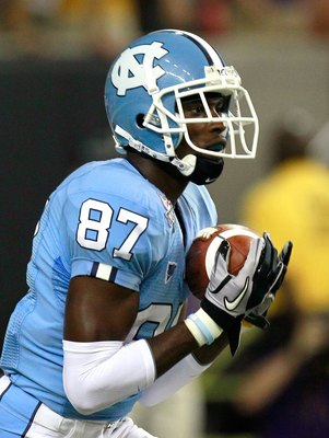 ATLANTA - SEPTEMBER 04:  Jheranie Boyd #87 of the North Carolina Tar Heels against the LSU Tigers during the Chick-fil-A Kickoff Game at Georgia Dome on September 4, 2010 in Atlanta, Georgia.  (Photo by Kevin C. Cox/Getty Images)