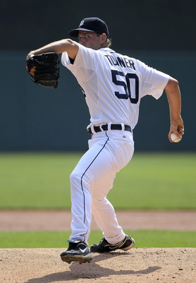 DETROIT - SEPTEMBER 01: Jacob Turner #50 of the Detroit Tigers pitches in the first inning during the game against the Kansas City Royals at Comerica Park on September 1, 2011 in Detroit, Michigan.  (Photo by Leon Halip/Getty Images)