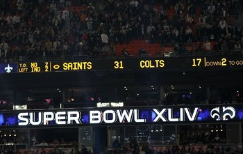 MIAMI GARDENS, FL - FEBRUARY 07:  The scoreboard is seen after the New Orleans Saints defeated the Indianapolis Colts during Super Bowl XLIV on February 7, 2010 at Sun Life Stadium in Miami Gardens, Florida.  (Photo by Ronald Martinez/Getty Images)