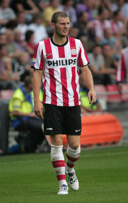 EINDHOVEN, NETHERLANDS - AUGUST 22:   Erik Pieters of PSV Eindhoven looks on during the Eredivisie league match between PSV Eindhoven and AZ Alkmaar at the Philips Stadium on August 22, 2010 in Eindhoven, Netherlands.   (Photo by Anoek De Groot/EuroFootba