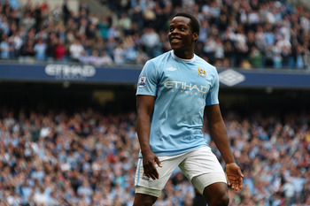 MANCHESTER, ENGLAND - APRIL 11:  Nedum Onuoha of Manchester City celebrates scoring their fourth goal during the Barclays Premier League match between Manchester City and Birmingham City at Eastlands, City of Manchester Stadium on April 11, 2010 in Manche
