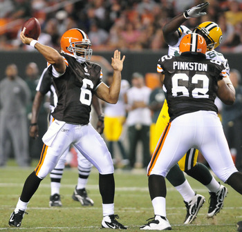 CLEVELAND, OH - AUGUST 13: Quarterback Seneca Wallace #6 of the Cleveland Browns throws for an interception during the third quarter against the Green Bay Packers at Cleveland Browns Stadium on August 13, 2011 in Cleveland, Ohio. The Browns defeated the P