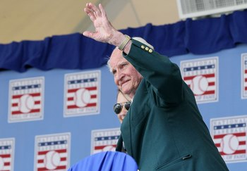 COOPERSTOWN, NY - JULY 24:  Hall of Famer Bobby Doerr is introduced at Clark Sports Center during the Baseball Hall of Fame induction ceremony on July 24, 2011 in Cooperstown, New York.  (Photo by Jim McIsaac/Getty Images)