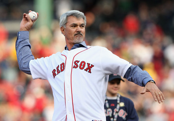 BOSTON - OCTOBER 13:  Former Boston Red Sox great, Dwight Evans throws out the first pitch before game three of the American League Championship Series against the Tampa Bay Rays during the 2008 MLB playoffs at Fenway Park on October 13, 2008 in Boston, M