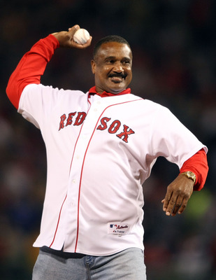BOSTON - OCTOBER 05:  Former Boston Red Sox legend Jim Rice throws out the ceremonial first pitch before the Game Three of the American League Division Series against the Los Angeles Angels of Anaheim on October 5, 2008  at Fenway Park in Boston, Massachu