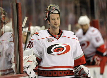 WASHINGTON, DC - MARCH 29:  Goalie Cam Ward #30 of the Carolina Hurricanes against the Washington Capitals at the Verizon Center on March 29, 2011 in Washington, DC.  (Photo by Rob Carr/Getty Images)