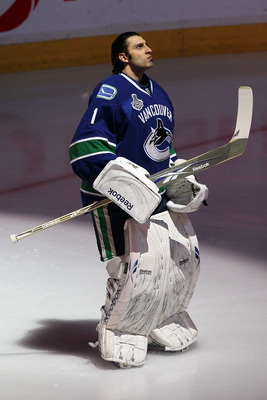 VANCOUVER, BC - JUNE 15:  Roberto Luongo #1 of the Vancouver Canucks looks on prior to Game Seven against the Boston Bruins in the 2011 NHL Stanley Cup Final at Rogers Arena on June 15, 2011 in Vancouver, British Columbia, Canada.  (Photo by Bruce Bennett