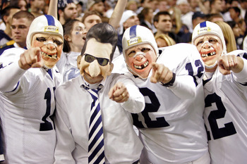 SAN ANTONIO - DECEMBER 29:  Penn State Nittany Lions fans dressed as head coach Joe Paterno and players cheer against the Texas A&M Aggies during the Valero Alamo Bowl on December 29, 2007 at the Alamodome in San Antonio, Texas.  (Photo by Brian Bahr/Gett