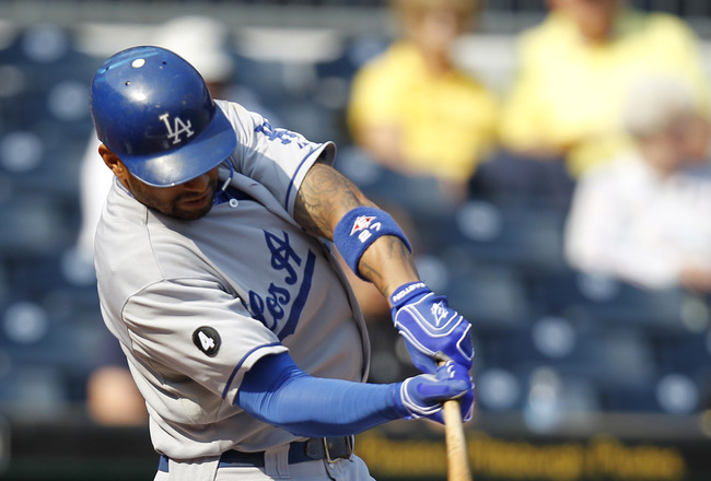 PITTSBURGH, PA - SEPTEMBER 01:  Matt Kemp #27 of the Los Angeles Dodgers hits a single against the Pittsburgh Pirates during the game on September 1, 2011 at PNC Park in Pittsburgh, Pennsylvania.  (Photo by Justin K. Aller/Getty Images)