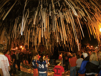 Toilet papering Toomer's Corner is part of the tailgating experience at Auburn after a win