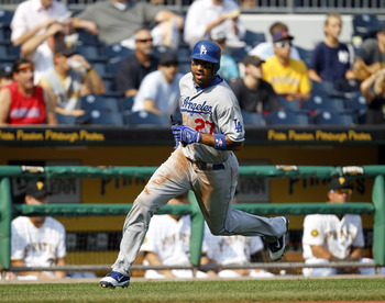 PITTSBURGH, PA - SEPTEMBER 01:  Matt Kemp #27 of the Los Angeles Dodgers scores on an RBI single by Aaron Miles #6 (not pictured) against the Pittsburgh Pirates during the game on September 1, 2011 at PNC Park in Pittsburgh, Pennsylvania.  (Photo by Justi