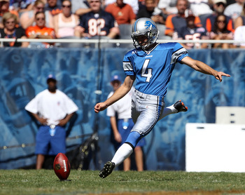 CHICAGO - SEPTEMBER 12: Jason Hanson #4 of the Detroit Lions kicks-off against the Chicago Bears during the NFL season opening game at Soldier Field on September 12, 2010 in Chicago, Illinois. The Bears defeated the Lions 19-14. (Photo by Jonathan Daniel/