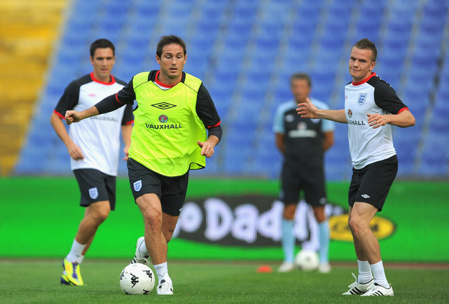 SOFIA, BULGARIA - SEPTEMBER 01: Frank Lampard in action with Tom Cleverley during the England training session ahead of their UEFA EURO 2012 Group G qualifier against Bulgaria at the Vasil Levski National Stadium on September 1, 2011 in Sofia, Bulgaria.