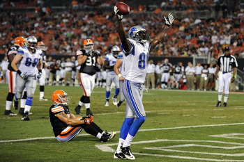 CLEVELAND, OH - AUGUST 19: Maurice Stovall #80 of the Detroit Lions celebrates after catching a touchdown pass from Drew Stanton #5 (not shown) during the third quarter against the Cleveland Browns at Cleveland Browns Stadium on August 19, 2011 in Clevela