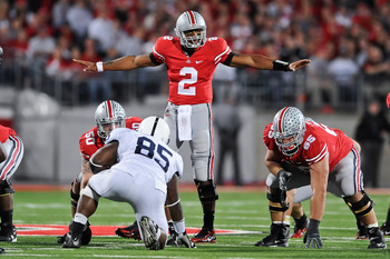 COLUMBUS, OH - NOVEMBER 13:  Quarterback Terrelle Pryor #2 of the Ohio State Buckeyes calls signals at the line against the Penn State Nittany Lions at Ohio Stadium on November 13, 2010 in Columbus, Ohio.  (Photo by Jamie Sabau/Getty Images)