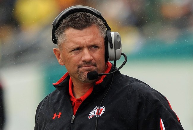 EUGENE, OR - SEPTEMBER 19:  Head coach Kyle Whittingham of the Utah Utes works the sidelines in the second quarter of the game against the Oregon Ducks at Autzen Stadium on September 19, 2009 in Eugene, Oregon. Oregon won the game 31-24. (Photo by Steve D