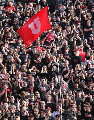 SALT LAKE CITY, UT - NOVEMBER 6: Fans of the Utah Utes cheer during a game against the TCU Horned Frogs during the first half of an NCAA Football game November 6, 2010 at Rice-Eccles Stadium in Salt Lake City, Utah. TCU Beat Utah 47-7.  (Photo by George F