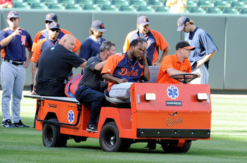 Al Alburquerque leaves practice after a line drive to the head.