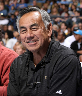 WESTWOOD, CA - JANUARY 16: UCLA football offensive coordinator Norm Chow attends the game between  the USC Trojans and the UCLA Bruins on January 16, 2010 at Pauley Pavillion in Westwood, California.  USC won 67-46.  (Photo by Stephen Dunn/Getty Images)