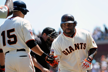 SAN FRANCISCO, CA - AUGUST 31:  Pablo Sandoval #48 of the San Francisco Giants celebrates with Carlos Beltran #15 after hitting a home run against the Chicago Cubs in the fourth inning during an MLB baseball game at AT&T Park on August 31, 2011 in San Fra