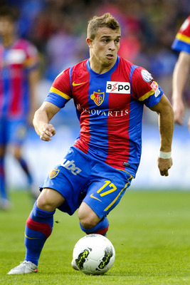 BASEL, SWITZERLAND - AUGUST 13:  Xherdan Shaqiri of FC Basel 1893 in action during the Swiss Axpo Super League match between FC Basel 1893 and FC Zurich held on August 13, 2011 at St. Jakob-Park in Basel, Switzerland. (Photo by Fabrice Coffrini/EuroFootba