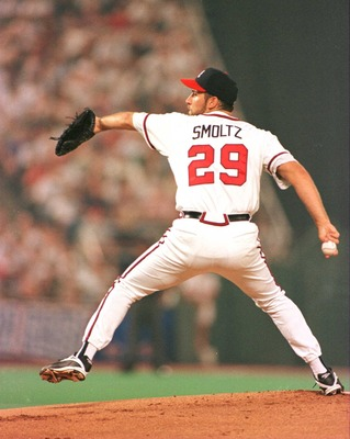9 Jul 1996:  Pitcher John Smoltz of the Atlanta Braves and the National League All-Star Team throws a pitch during the first inning of the 67th Major League Baseball All-Star Game at Veterans Stadium in Philadelphia, Pennsylvania.  Mandatory Credit: Al Be