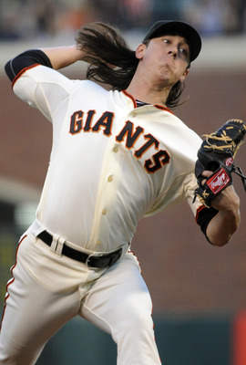 SAN FRANCISCO, CA - AUGUST 29: Tim Lincecum #55 of the San Francisco Giants pitches against the Chicago Cubs in the first inning during a MLB baseball game at AT&amp;T Park August 29, 2011 in San Francisco, California. (Photo by Thearon W. Henderson/Getty Ima