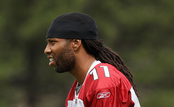 FLAGSTAFF, AZ - JULY 30:  Wide receiver Larry Fitzgerald #11 of the Arizona Cardinals practices in the team training camp at Northern Arizona University on July 30, 2011 in Flagstaff, Arizona.  (Photo by Christian Petersen/Getty Images)