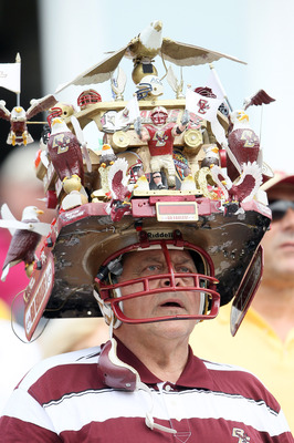 CHESTNUT HILL, MA - SEPTEMBER 03:  A Boston College Eagles fans watches the game in the second half against the Northwestern Wildcats on September 3, 2011 at Alumni Stadium in Chestnut Hill, Massachusetts.The Northwestern Wildcats defeated the Boston Coll