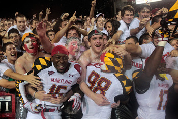 COLLEGE PARK, MD - SEPTEMBER 05: Members of the Maryland Terrapins celebrate their 32-24 win over the Miami Hurricanes at Byrd Stadium on September 5, 2011 in College Park, Maryland.   (Photo by Rob Carr/Getty Images)