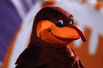 MIAMI, FL - JANUARY 03:  Hokie Bird, mascot of the Virginia Tech Hokies looks on against the Stanford Cardinal during the 2011 Discover Orange Bowl at Sun Life Stadium on January 3, 2011 in Miami, Florida. Stanford won 40-12. (Photo by Streeter Lecka/Gett