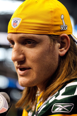ARLINGTON, TX - FEBRUARY 01:  A.J. Hawk #50 of the Green Bay Packers speaks during Super Bowl XLV Media Day ahead of Super Bowl XLV at Cowboys Stadium on February 1, 2011 in Arlington, Texas. The Pittsburgh Steelers will play the Green Bay Packers in Supe