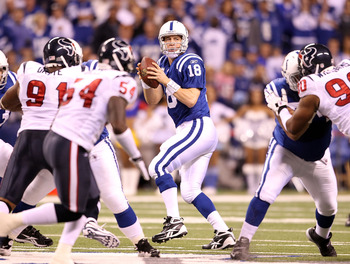 INDIANAPOLIS - NOVEMBER 01:  Peyton Manning #18 of Indianapolis Colts throws a pass during the NFL game against the Houston Texans  at Lucas Oil Stadium on November 1, 2010 in Indianapolis, Indiana.  (Photo by Andy Lyons/Getty Images)