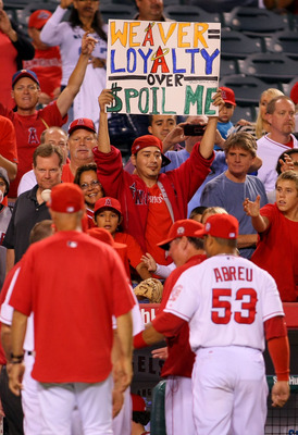 ANAHEIM, CA - AUGUST 24:  A fan of the Los Angeles Angels of Anaheim holds up praising starting pitcher Jered Weaver #36 of the Los Angeles Angels of Anaheim (not in photo) after the Angel's 8-0 win against the Chicago White Sox in the MLB game at Angel S