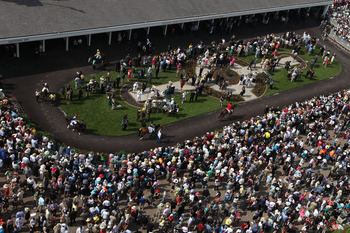 LOUISVILLE, KY - MAY 07:  Horses are paraded by fans in the paddock area during the 137th Kentucky Derby at Churchill Downs on May 7, 2011 in Louisville, Kentucky.  (Photo by Jamie Squire/Getty Images)