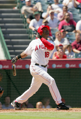 ANAHEIM, CA - SEPTEMBER 6:  Garrett Anderson #16 of the Los Angeles Angels of Anaheim swings at the pitch during the game against the Baltimore Orioles on September 6, 2006 at Angel Stadium in Anaheim, California.  (Photo by Stephen Dunn/Getty Images)