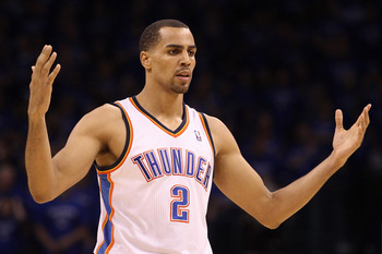 OKLAHOMA CITY, OK - MAY 23:  Thabo Sefolosha #2 of the Oklahoma City Thunder reacts late in the fourth quarter while taking on the Dallas Mavericks in Game Four of the Western Conference Finals during the 2011 NBA Playoffs at Oklahoma City Arena on May 23