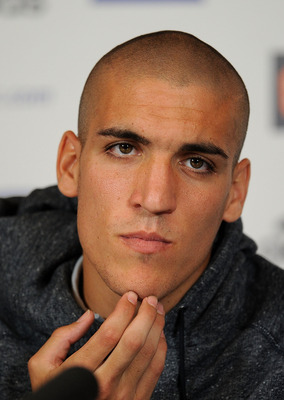 COBHAM, ENGLAND - AUGUST 23:  Oriol Romeu talks to the press during the Chelsea new signings of Oriol Romeu and Romelu Lukaku press conference on August 23, 2011 in Cobham, England.  (Photo by Christopher Lee/Getty Images)
