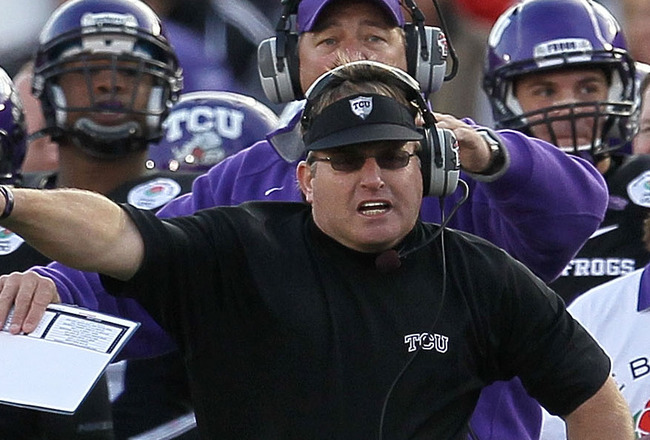PASADENA, CA - JANUARY 01:  Head coach Gary Patterson of the TCU Horned Frogs stands on the sidelines against the Wisconsin Badgers during the 97th Rose Bowl game on January 1, 2011 in Pasadena, California.  (Photo by Stephen Dunn/Getty Images)
