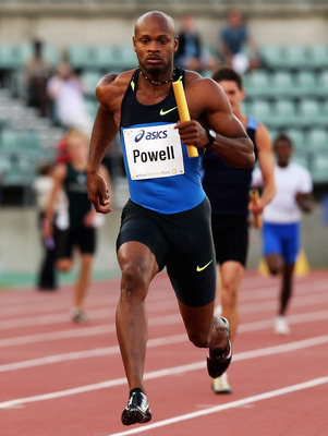 SYDNEY, AUSTRALIA - FEBRUARY 28:  Asafa Powell of Jamaica anchors the Jamaican relay team during the Sydney Athletics Grand Prix at Sydney Olympic Park on February 28, 2009 in Sydney, Australia.  (Photo by Mark Dadswell/Getty Images)