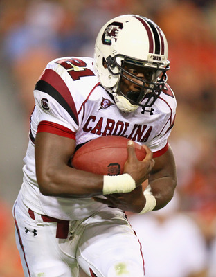 AUBURN, AL - SEPTEMBER 25:  Marcus Lattimore #21 of the South Carolina Gamecocks against the Auburn Tigers at Jordan-Hare Stadium on September 25, 2010 in Auburn, Alabama.  (Photo by Kevin C. Cox/Getty Images)